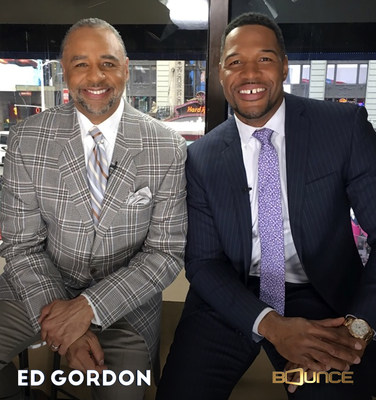 Super Bowl champion-turned broadcaster Michael Strahan (R) discusses his life, the challenges of becoming famous and gossip-page fare and more with Ed Gordon (L) in a star-studded Ed Gordon celebrity special world premiering Mon. July 17 at 10:00 pm ET on Bounce.