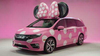 "Honda Goes Fashion Forward with Debut Display of One-of-a-Kind ""MINNIE VAN"" – Custom-Designed Odyssey Created for Disney D23 Expo (PRNewsfoto/American Honda Motor Co., Inc.)"