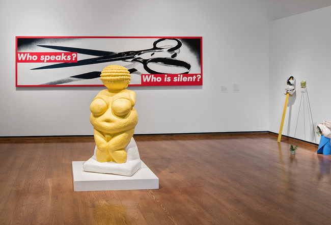 Seen and Heard was initially inspired by Barbara Kruger's Who Speaks? Who is Silent?, a monumental work in the Everson's collection that addresses the implication of silence and representation for women. On view with Jessica Posner's VENUS, a life-sized reinterpretation of the Venus of Willendorf.