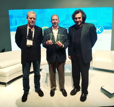 Kevin Miller, President, ISFTV, Tim Alessi, Senior Director, LG Electronics, and Joel Silver, Owner, Imaging Science Foundation, celebrate as LG Electronics sweeps all three categories of the 14th Annual CE Week TV Shootout.