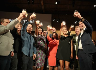 LOS ANGELES, CA - JULY 13:  Actor Halle Berry and The Grand Finalists at The Chivas Venture $1m Global Startup Competition at LADC Studios on July 13, 2017 in Los Angeles, California.  (Photo by Christopher Polk/Getty Images for Chivas Regal) (PRNewsfoto/Chivas Venture)