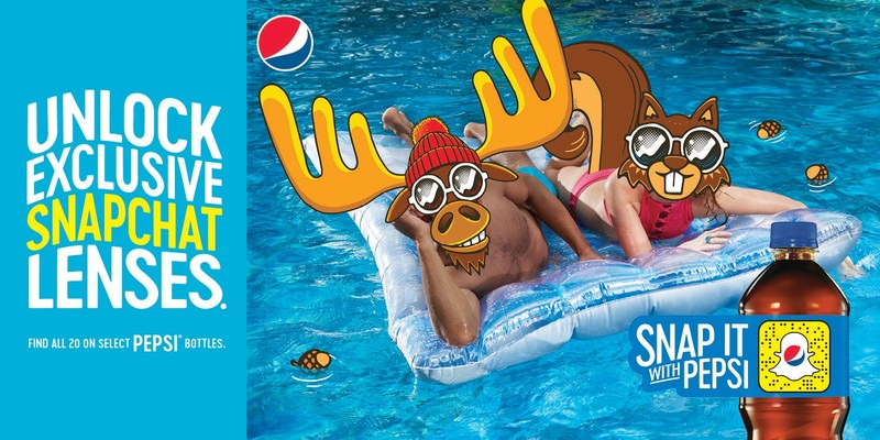 To unlock an exclusive Pepsi Lens, Canadian Snapchatters can point their Snapchat camera at the on-pack Snapcode and tap and hold to scan. (CNW Group/PepsiCo Canada)