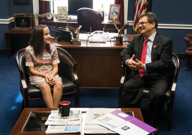 St. Joseph's Children's Hospital patient Natalia Ricabal, age 12, shares her story of battling bone cancer with Congressman Gus Bilirakis during a meeting on Capitol Hill July 13, 2017. Photo by Kevin Allen, courtesy of Children's Hospital Association.