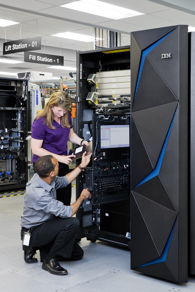 The IBM Z mainframe is a breakthrough in data protection technology designed to tackle the epidemic of data breaches. IBM hardware engineer Rhonda Sundlof (top) and distinguished engineer Karl Casserly test the IBM Z which is manufactured In Poughkeepsie, NY.