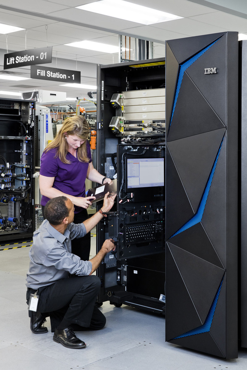 The IBM Z mainframe is a breakthrough in data protection technology designed to tackle the epidemic of data breaches. IBM hardware engineer Rhonda Sundlof (top) and senior engineer Karl Casserly test the IBM Z which is manufactured In Poughkeepsie, NY. Contact: Lori Bosio, IBM, bosiol@us.ibm.com 914-765-2367 (Photo Credit: Connie Zhou for IBM)