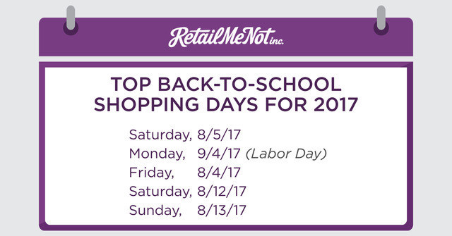 Top Back-to-School Shopping Days for 2017