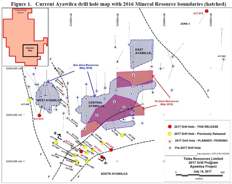 Figure 1. Current Ayawilca drill hole map with 2016 Mineral Resource boundaries (hatched) (CNW Group/Tinka Resources Limited)