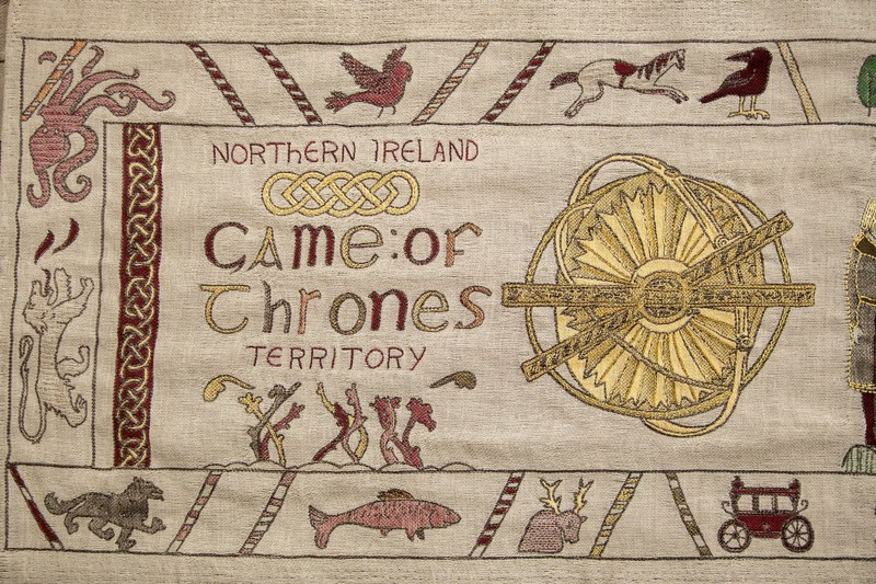 Tourism Ireland unveils giant, 77-metre long, Bayeux-style tapestry to celebrate Game of Thrones® season 7. (PRNewsfoto/Tourism Ireland)