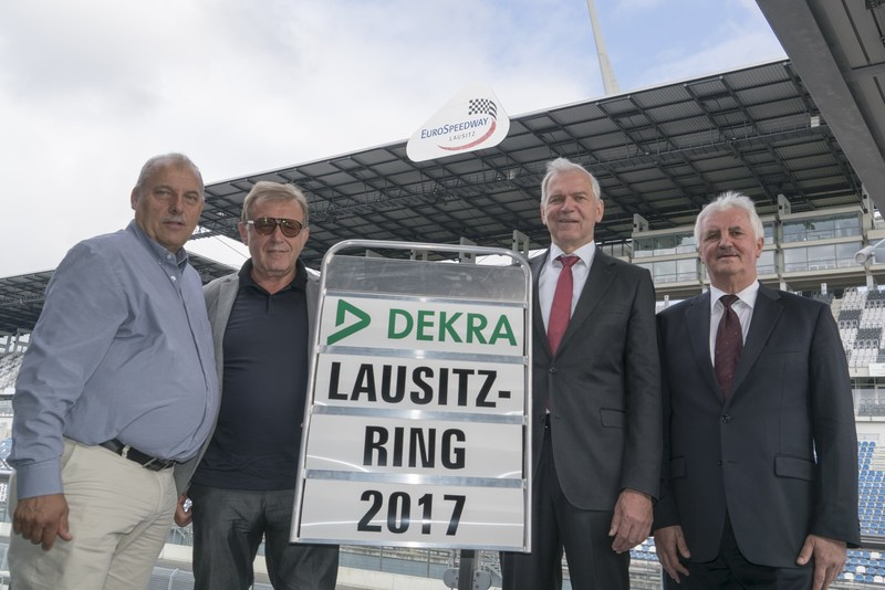 The Managing Directors of EuroSpeedway Verwaltungs-GmbH, Josef Hofmann and Josef Meier, Clemens Klinke, Member of the Board of Management DEKRA SE, Dr. Gerd Neumann, Chairman of the Management Board of DEKRA Automobil GmbH. (copyright: DEKRA / Thomas Küppers) (PRNewsfoto/DEKRA SE)