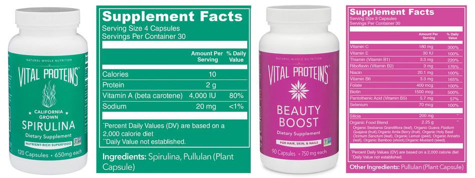(From left to right: Spirulina, 120 count | $28; Organic Beauty Boost, 90 count | $49)