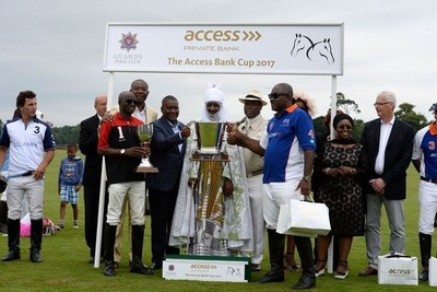 Emir of Kano, Mohammed Sanusi II (middle) and winning teams at 2017 Access Bank polo challenge in Windsor. Keffi Ponies - 2017 Emir's Cup and Access Bank team winners - Access Bank Cup. With the Emir, (L-R)  Keffi Captain;  Ahmed Wadada; President The Nigerian Stock Exchange, Mr. Aigboje Aig-Imoukhuede; President of Dangote Group, Alhaji Aliko Dangote; Access Bank Plc CEO Mr. Herbert Wigwe; Mahmud Adamu-Attah Fifth Chukker, Mrs Mosun Belo-Olusoga, Access Bank Chair and Jamie Simons MD /CEO Access Bank UK (PRNewsfoto/The Access Bank UK)