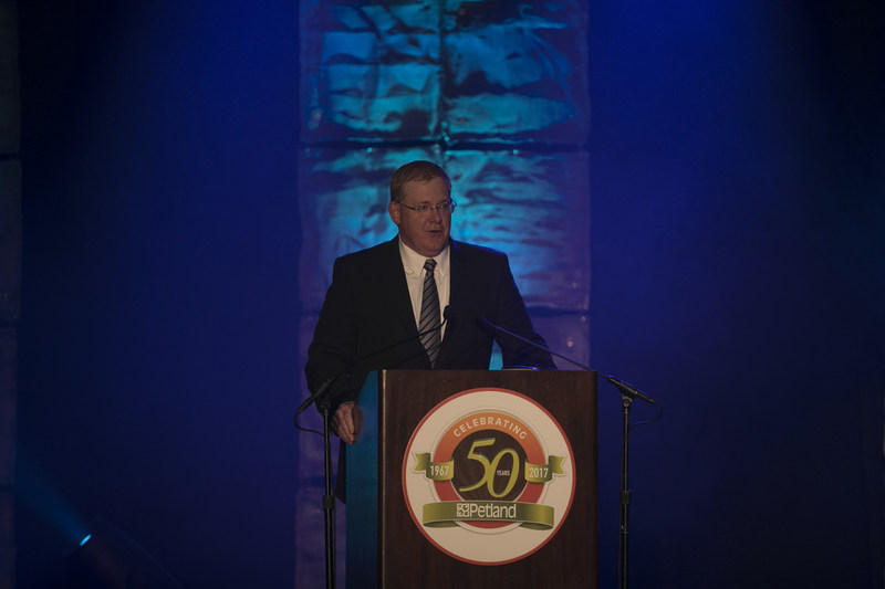 Petland President and CEO Joe Watson welcomes franchisees, strategic partners and special guests to the 50th anniversary Petland Awards Banquet.