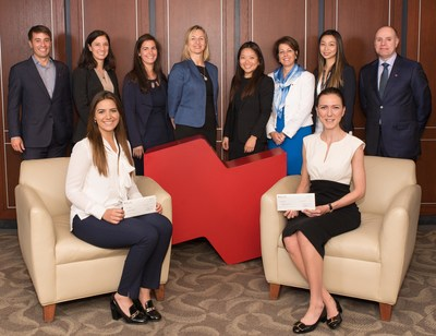 From left to right : Financial markets team members' Yanick Blanchard, Elaine Barsalou, Sandrine Theroux, Beata Swist, Melissa Tan, France Beauregard, Sandy Lam and Denis Girouard, with the two recipients of the eighth edition Florence Godard-Kalogiros and Ekin Ober (seated). (CNW Group/National Bank of Canada)