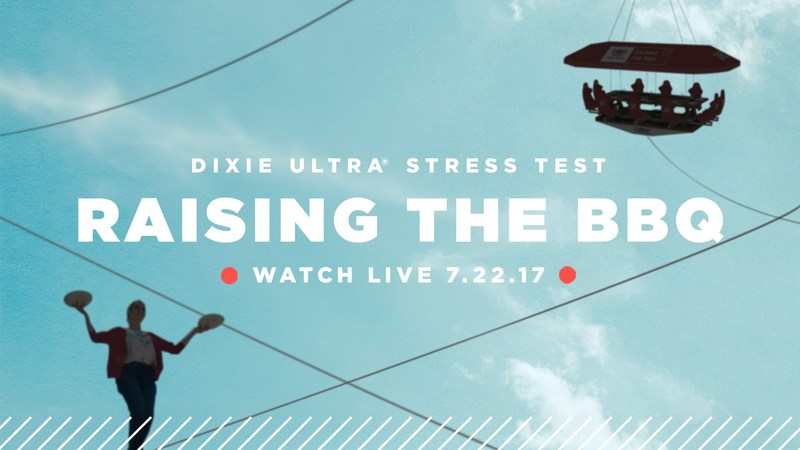 "Dixie Ultra® is ""Raising the BBQ"" to put its new heavy-duty paper plates through the ultimate stress test in an extreme dining event in Kansas City on July 22. The event will feature acrobatic servers delivering meals via tightrope to diners at 40-foot high suspended restaurant."