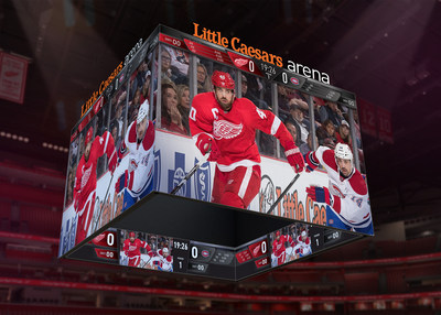 Little Caesars Arena scoreboard is a sight to behold