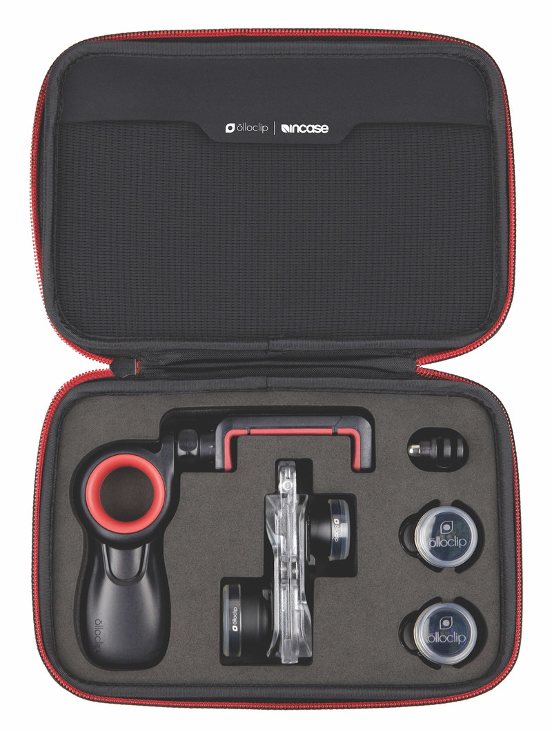 olloclip's Filmer's Kit is designed to deliver the mobile videographer, live streamer and photographer with a complete creative arsenal of lenses sized to fit today's most popular camera, iPhone. A rig made up of five different lenses and a grip once took a backpack or rolling case to carry, but today it all fits in an ultra-portable case taking up a fraction of the space.