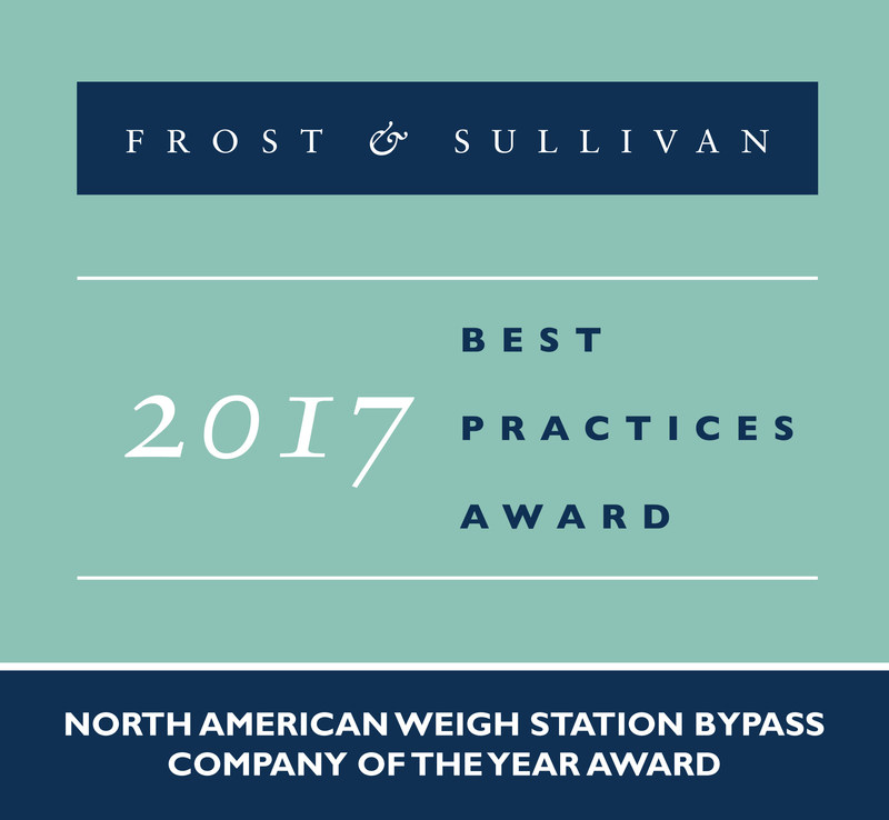 Frost & Sullivan recognizes Drivewyze with the 2017 North American Company of the Year Award. (PRNewsfoto/Frost & Sullivan)