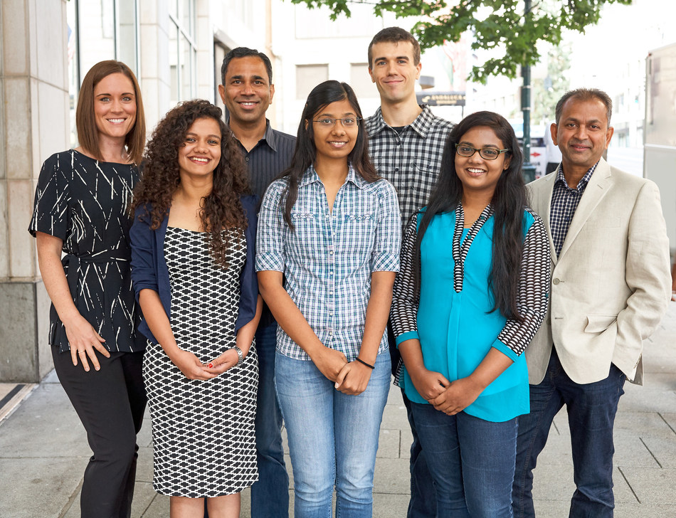 The Element Data engineering team. (Back from Left: Lena Showalter, Vish Vadlamani, Robert Stewart, Phani Vaddadi. Front from left: Shalini Kumari, Siddhi Gupta, Brenda Martis. Not Pictured: Charles Davis, Emma Fritzberg. Photo by Mark Cornellison).