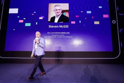 Steven McGill, Pearson's Managing Director of Greater China Learning Service Gave a Speech during the News Conference.
