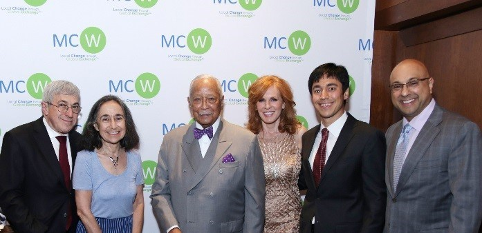 From left: Stanley Bergman (Chairman & CEO, Henry Schein, Inc.); Dr. Marion Bergman (Director, Health Care Projects, MCW); Mayor David Dinkins (106th Mayor of New York City); Liz Claman (Anchor, FOX Business Network); Edward Bergman (MCW Co-Founder & President of the Board of Directors, MCW); Ali Velshi (Anchor & Business Correspondent, NBC News).