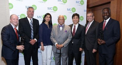 From left: Anthony Dalessio (KPMG LLP); Mark Kemper (Member, MCW Board of Directors); Humera Qazi (KPMG LLP and Member, MCW Board of Directors); Mayor David Dinkins (106th Mayor of New York City); Edward Bergman (MCW Co-Founder & President of the Board of Directors); Dr. Charles L. Robbins (Stony Brook University and Member, MCW Board of Director); Dr. Emil Kikwilu (MUHAS Dental School, Tanzania).