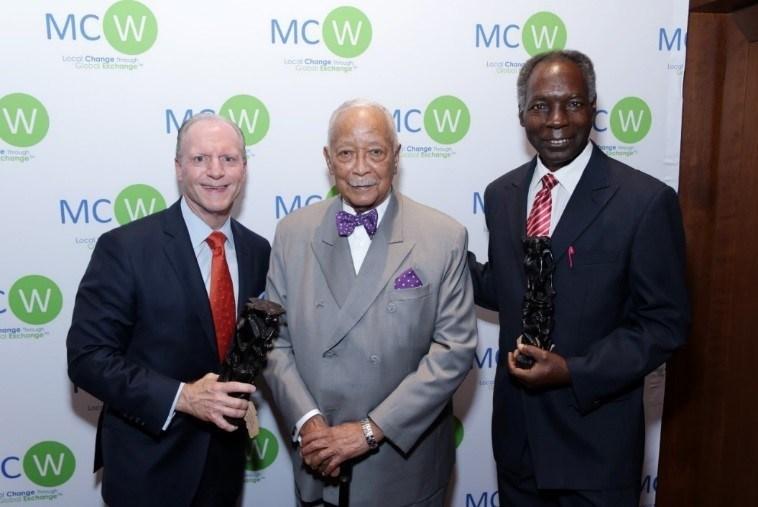 From left: Anthony Dalessio (Long Island Managing Partner, KPMG LLP); Mayor David Dinkins (106th Mayor of New York City); and Dr. Emil Kikwilu (Professor and Former Dean, MUHAS Dental School, Tanzania).