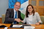 Richard Northcote, chief sustainability officer at Covestro and Alzbeta Klein, director and global head for IFC's climate business agree to promote IFC's EDGE, a green building software, standard and certification system for emerging markets. The agreement was signed in Washington, D.C.