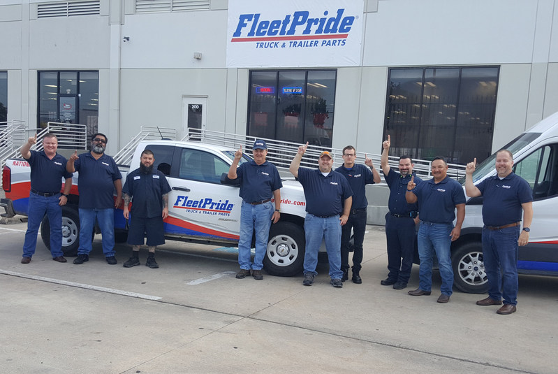 The staff of FleetPride's new Houston branch posed outside the storefront. The branch, located at 14900 Hempstead Road, Suite 200, is FleetPride's second in the city of Houston.