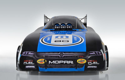 Two-time Funny Car champion Matt Hagan is helping wish the Mopar brand a happy 80th birthday. Hagan will carry special Mopar 80th anniversary graphics on his Dodge Charger R/T starting at the Mopar Mile-High NHRA Nationals, July 21-23. (PRNewsfoto/FCA US LLC)