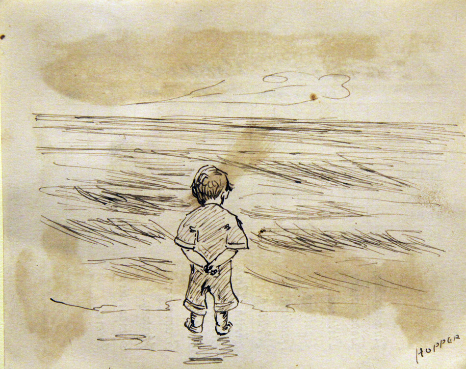 This image was drawn on the back of Edward Hopper's third grade report card dated October 23, 1891, when Hopper was nine years old. Edward Hopper (1882-1967), Little Boy Looking at the Sea, n.d., ink on paper, 4.5 x 3.5 in. The Arthayer R. Sanborn Hopper Collection Trust