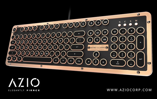 Vintage Typewriter Keyboard using Genuine Leather, Metal Alloy, Backlit Keycaps, Wired or Wireless