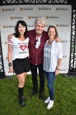 A very happy Canada 150. Contest winner Celina Close (right) with Canadian icon Tom Cochrane (middle) and World Vision Canada Chief Marketing and DevelopmentOfficer Lara Dewar (left) on Canada Day in Kitchener, Ontario. Photo/Word Vision (CNW Group/World Vision Canada)