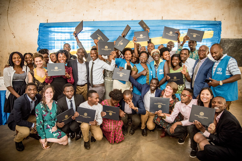Graduating class with Kepler academic team, SNHU, UNHCR, and MIDIMAR (photo credit to Alex Buisse)