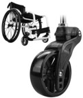 Wheelchair Casters That Function Like Airplane Landing Gear to Provide a Smoother Ride Adopt Long Carbon Fiber Composites to Reduce Weight
