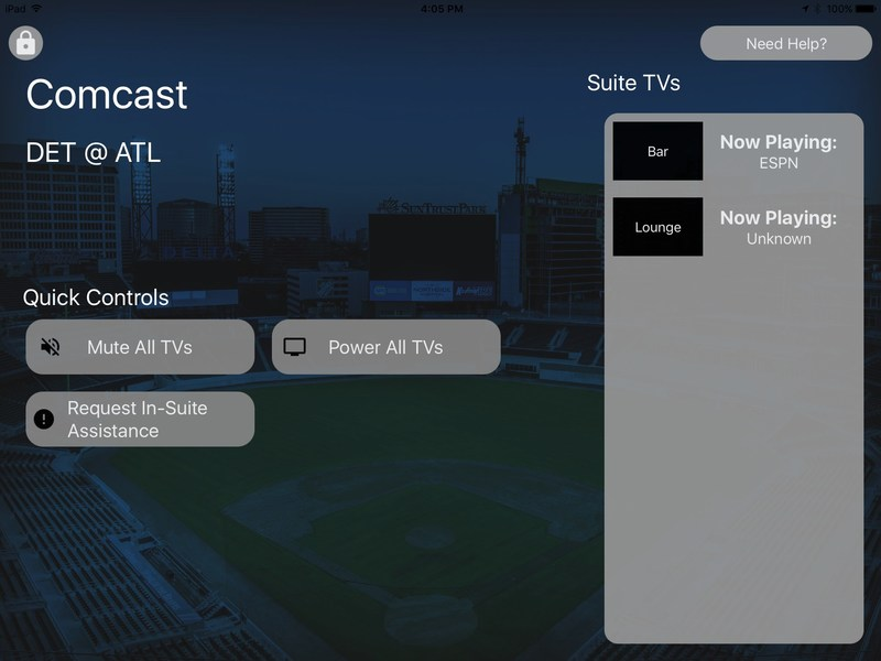 Braves fans with tickets on the club levels of SunTrust Park will experience the second YinzCam product in the form of a Suite App that allows them to control all of the televisions and message Guest Relations with questions or concerns.