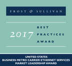 Frost & Sullivan recognizes AT&T with the 2017 United States Business Metro Carrier Ethernet Services Market Leadership Award. (PRNewsfoto/Frost & Sullivan)