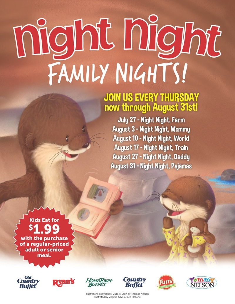 Ovation Brands and Furr's Fresh Buffet are helping families develop a fun and bonding routine with its newest Family Night program featuring Night Night, a bedtime book series. Starting July 27, the six-week series will feature kid-friendly activities and games from 5-8 p.m. every Thursday.