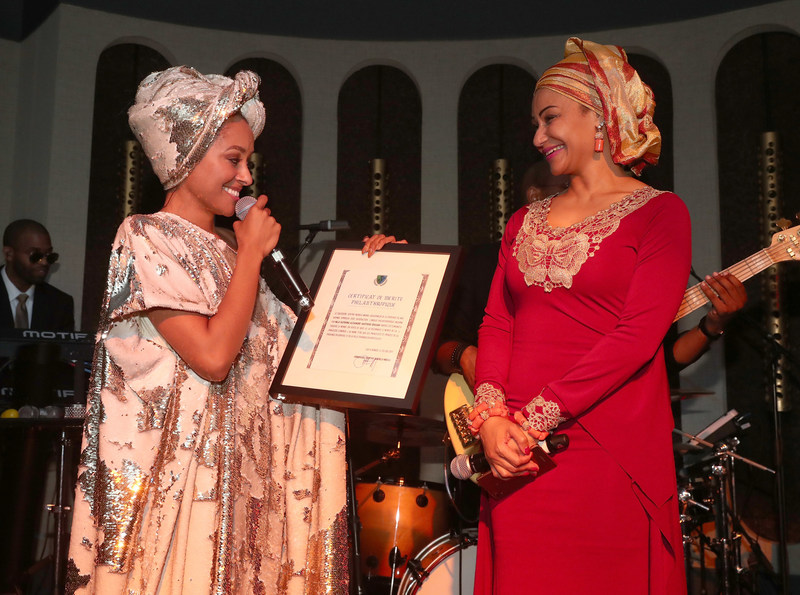 Princess Kat Graham presented Certificate of Merit in appreciation her philanthropic work in the Congo.