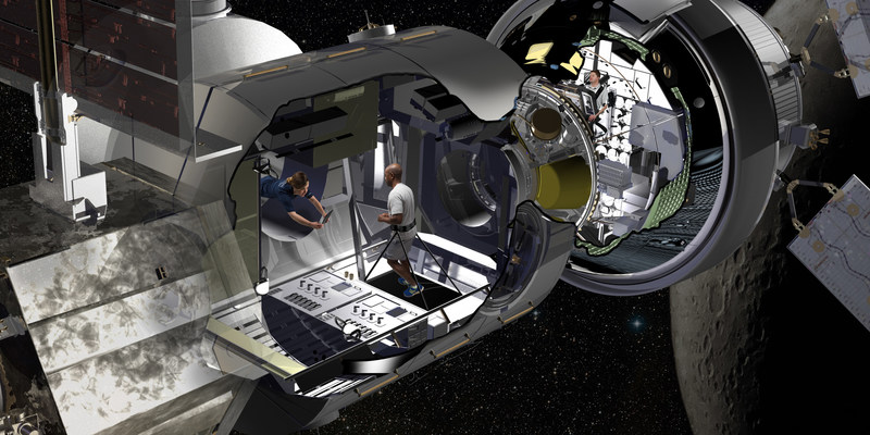 Lockheed Martin artist rendering of the NextSTEP habitat docked with Orion in cislunar orbit as part of a concept for the Deep Space Gateway. Orion will serve as the habitat's command deck in early missions, providing critical communications, life support and navigation to guide long-duration missions.