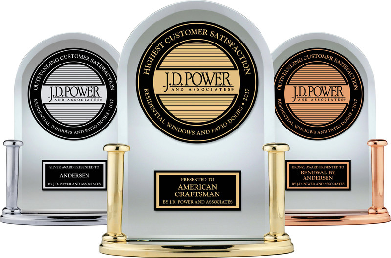 """Andersen Corporation makes history with a sweep of the top three spots for """"Outstanding Customer Satisfaction with Windows and Patio Doors,"""" according to the J.D. Power 2017 Windows and Patio Doors Satisfaction Study."""