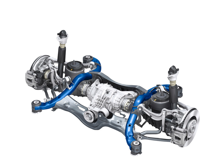 Highlighted in dark blue, right and left rear cradle arms manufactured by Vari-Form for the 2017 Audi Q5 support the rear-axle/differential assembly, and are integral to chassis integrity and stability.