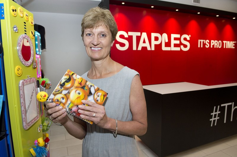 Staples Canada president, Mary Sagat, visits the Staples Back-to-School Pro Lounge in Toronto, Thursday, July 20, 2017.  The pop up is open to consumers at no charge, July 21 to July 25, and will showcase trends for the 2017 back-to-school shopping season. (CNW Group/Staples Canada Inc.)
