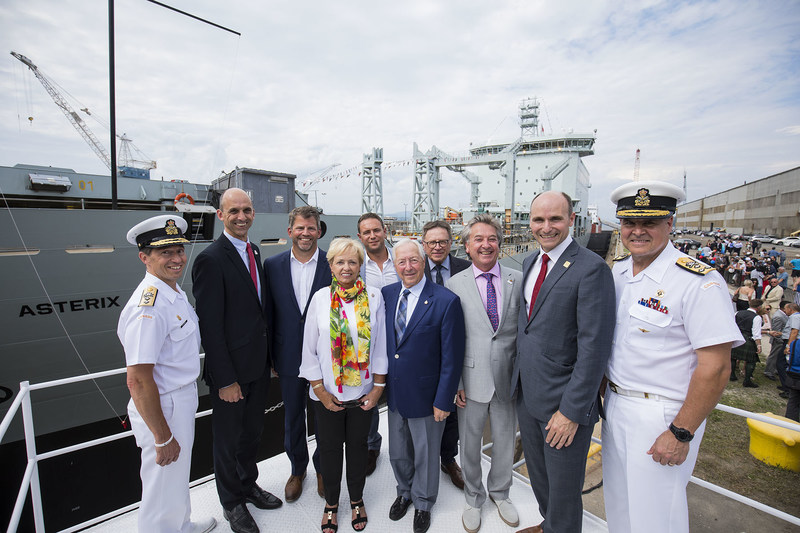 Surrounding the Lieutenant Governor of Québec J. Michel Doyon and his wife and sponsor of the Asterix, Pauline Théberge, Rear-Admiral Gilles Couturier, Deputy Commander of the Royal Canadian Navyl, member of parliament Steven Blaney, Spencer Fraser, CEO of Federal Fleet Services, Alex Vicefield, chairman of Davie, Gilles Lehouillier, mayor of Lévis, member of parliament Jean Rioux,  minister Jean-Yves Duclos and Vice-Admiral Ron Lloyd, Commander of the Royal Canadian Navy. (CNW Group/Davie Shipbuilding)