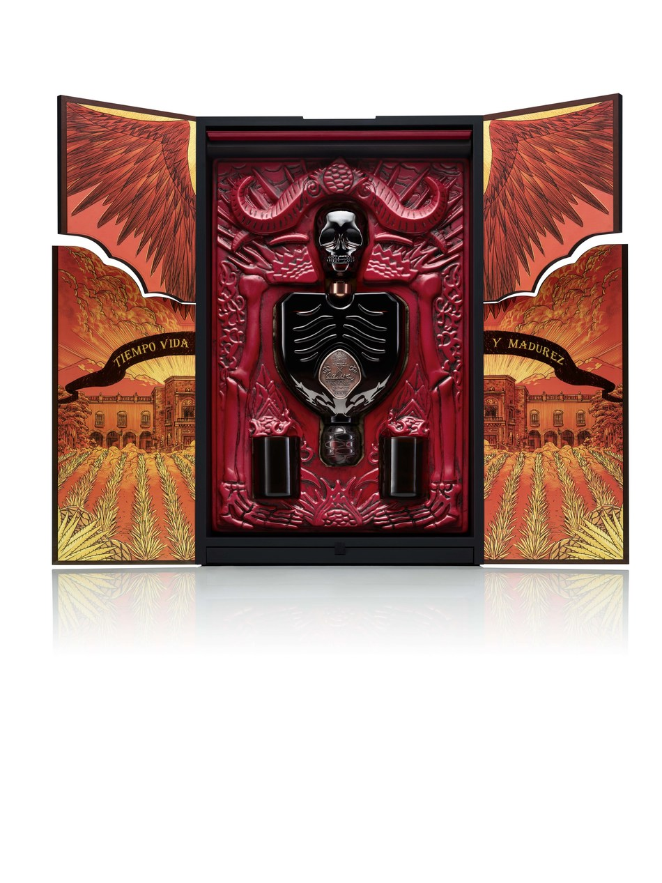 The Patrón x Guillermo del Toro package opens to reveal two limited edition bottles