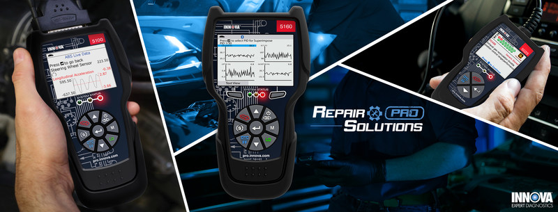 Innova Electronics, Corporation launches its new INNOVA CarScan® line of professional on-board diagnostic (OBD) tools designed by professional automotive technicians to help techs of all levels streamline repairs on today's vehicles. Also now featuring RepairSolutions® Pro online and app-based diagnostic guidance. For more information, visit https://pro.innova.com/.
