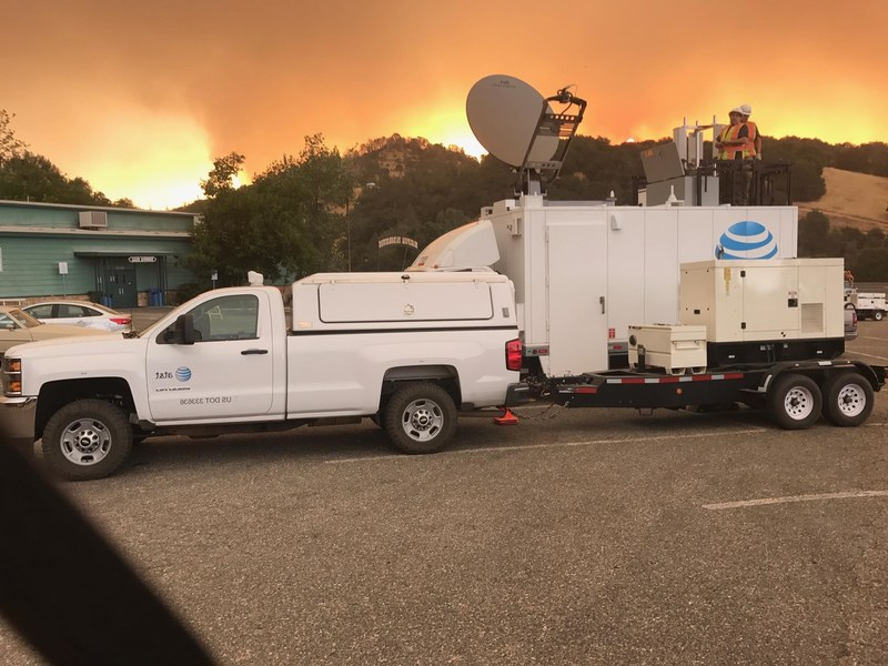 AT&T's mobile truck-mounted cell site, or SatCOLT, at the Mariposa County Fairgrounds Detwiler Fire command site