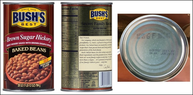[July 22, 2017]: BUSH'S BEST® BROWN SUGAR HICKORY BAKED BEANS Voluntary Recall - 28 ounce with UPC of 0 39400 01977 0 and Lot Codes 6097S GF and 6097P GF with Best By date of Jun 2019 (PRNewsfoto/Bush Brothers & Company)