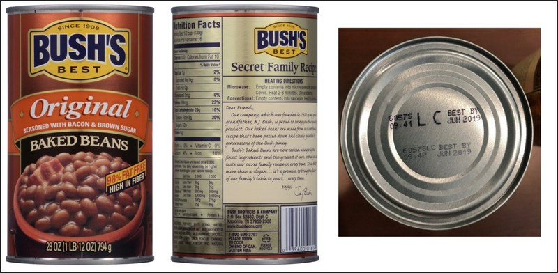[July 22, 2017]: BUSH'S BEST ORIGINAL BAKED BEANS Voluntary Recall – 28 ounce with UPC of 0 39400 01614 4 and Lot Codes 6057S LC and 6057P LC with the Best By date of Jun 2019 (PRNewsfoto/Bush Brothers & Company)