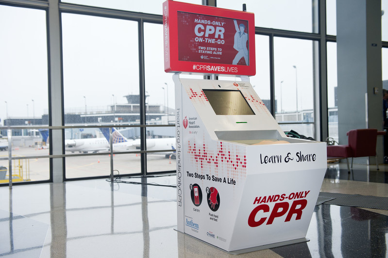 An American Heart Association Hands-Only CPR Training Kiosk supported by the Anthem Foundation resides in Terminal 2 at O'Hare International Airport. The O'Hare kiosk was installed in 2016.