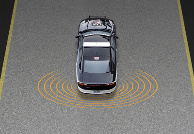 Officer Protection Package uses sensors to detect any movement behind the Charger Pursuit police vehicle